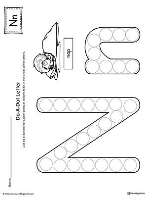 Lowercase Letter N Color-by-Letter Worksheet