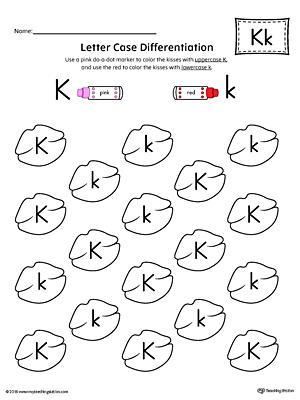 Lowercase Letter K Color-by-Letter Worksheet