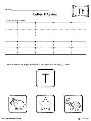 Letter T Tracing Printable Worksheet MyTeachingStation Com