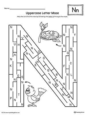 Alphabet Letter Hunt: Letter N Worksheet