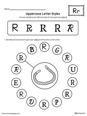 Uppercase Letter R Color-by-Letter Worksheet