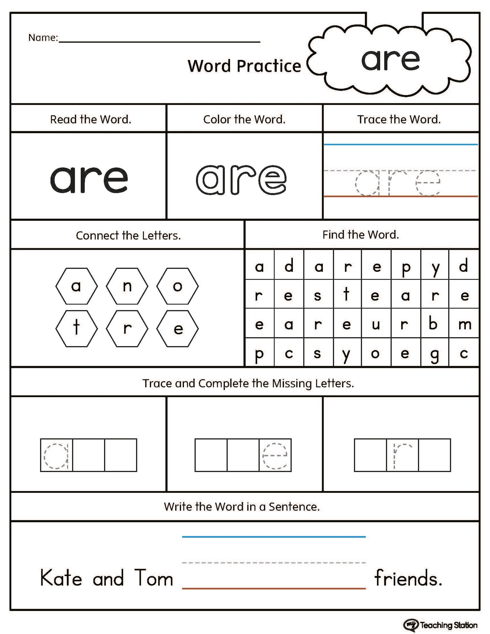 Ad Word Family Worksheet Printable