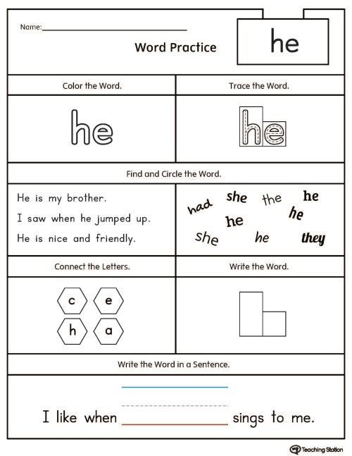 small resolution of High-Frequency Word HE Printable Worksheet   MyTeachingStation.com