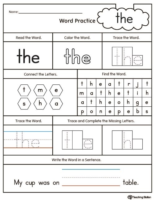 small resolution of Sight Word the Printable Worksheet   MyTeachingStation.com