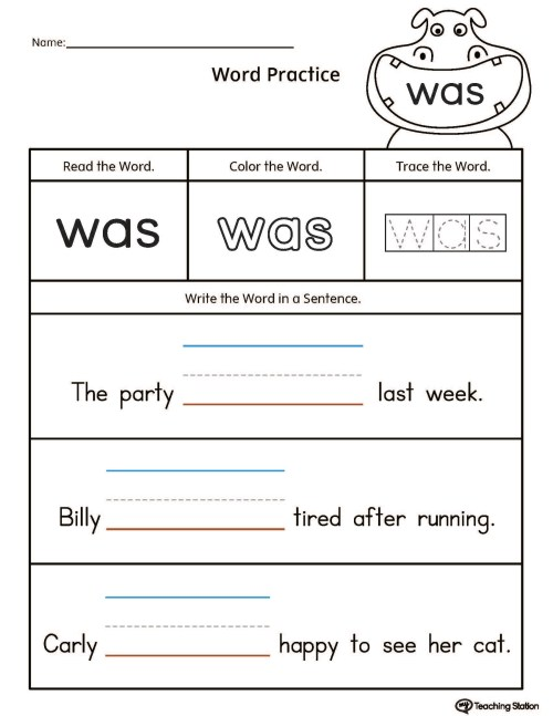 small resolution of Build Sentences Using Sight Word: WAS   MyTeachingStation.com