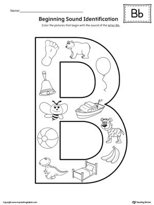 Letter B Beginning Sound Identification