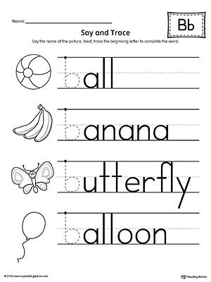 Letter B Beginning Sound Color Pictures Worksheet