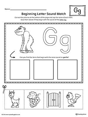 Preschool Letter G Beginning Sounds Worksheets. Preschool