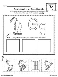 Preschool Letter G Beginning Sounds Worksheets. Preschool