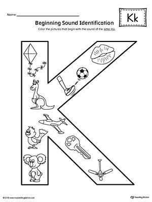 Letter K Beginning Sound Color Pictures Worksheet