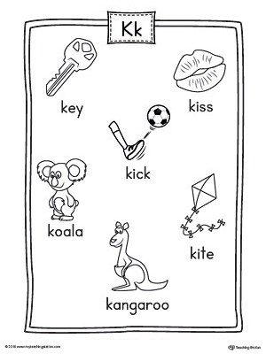 Letter K Word List with Illustrations Printable Poster