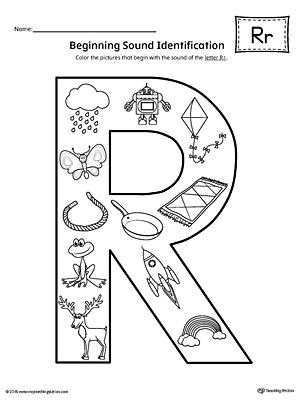 Letter R Beginning Sound Color Pictures Worksheet
