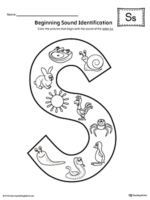 Letter S Beginning Sound Color Pictures Worksheet