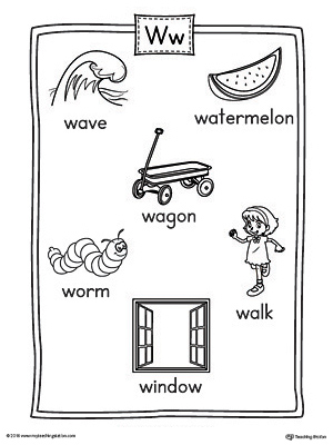 Letter W Word List with Illustrations Printable Poster
