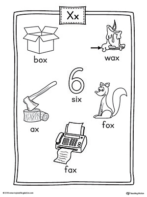Letter X Word List with Illustrations Printable Poster