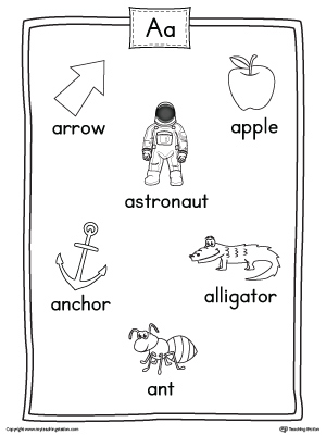 Short Letter A Beginning Sound Color Pictures Worksheet