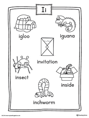 Short Letter I Word List with Illustrations Printable