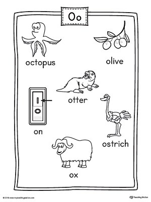 Short Letter O Word List with Illustrations Printable