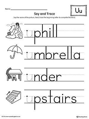 Say and Trace: Short Letter U Beginning Sound Words