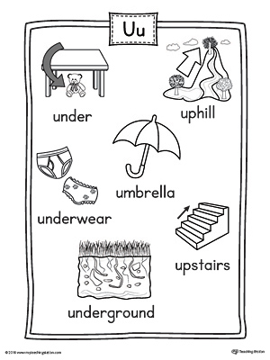 Short Letter U Word List with Illustrations Printable