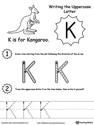 Writing Uppercase Letter K