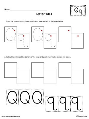 Letter Q Tracing and Writing Letter Tiles
