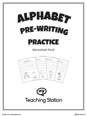 Alphabet Pre-Writing Practice Worksheet Pack
