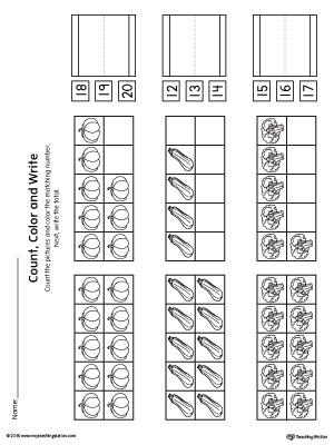 Ten Frame: Count, Color and Write the Number Printable