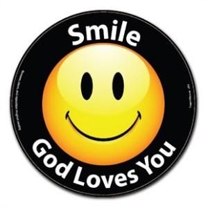 smile-god-loves-you-car-magnet