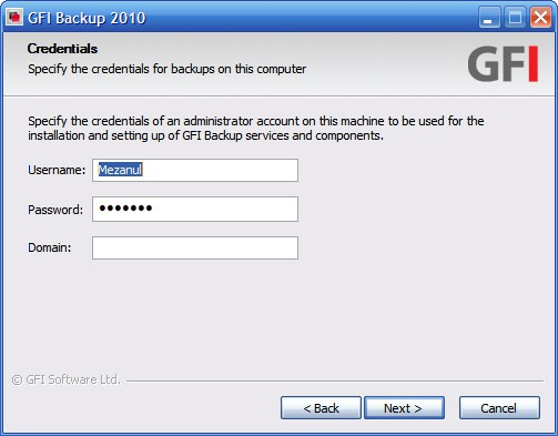 GFI Backup credential settings
