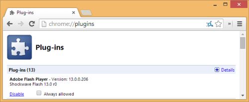 disable adobe flash plugin in google chrome browser