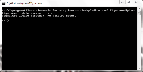 update microsoft security essential using command line