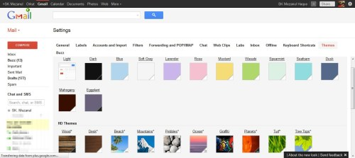 New Gmail HD Themes
