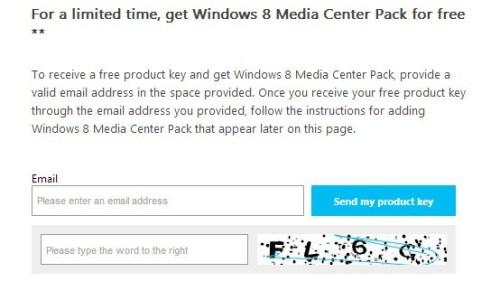 Windows 8 Media Center Pack free license