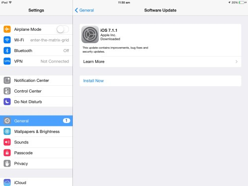 Install iOS 7.1.1 (build 11D201) update