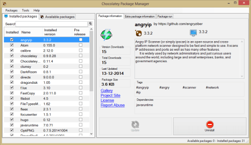 chocolateygui displaying installed programs