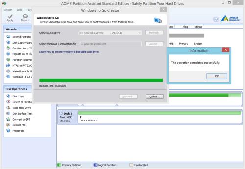 Windows To Go Creator task complete