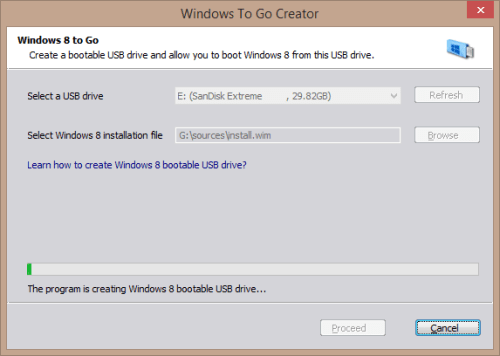 Windows To Go Creator wizard