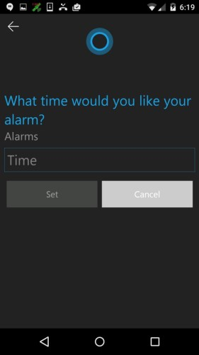Set alarm using Cortana app on Android