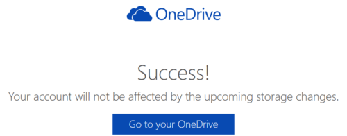 Success Message for Protecting Your 15 GB Free OneDrive Storage and Camera Bonus Space