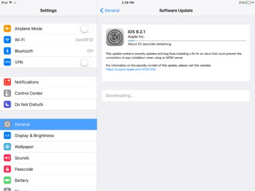 iOS 9.2.1 update