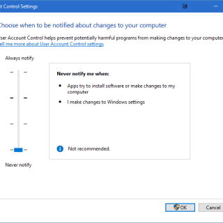 disable UAC in Windows 10, 8.1, 8
