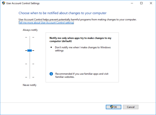 enable UAC in Windows 10, 8.1, 8