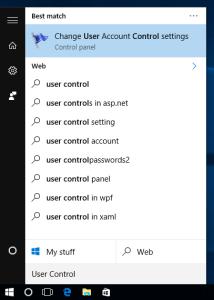 find UAC in Windows 10