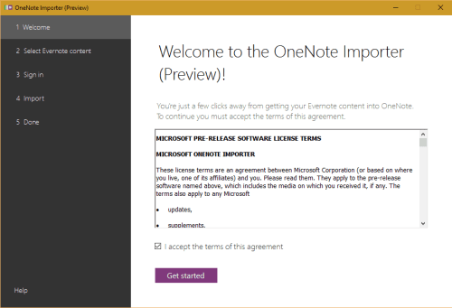 accept eula evernote to onenote import tool