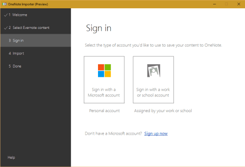 select microsoft account
