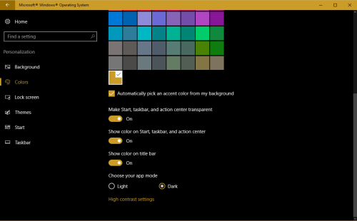 Select Dark to enable Dark theme in Windows 10