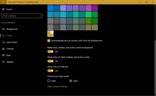 Select Dark to enable Dark theme in Windows 10