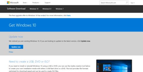 Windows 10 Update Assistant website