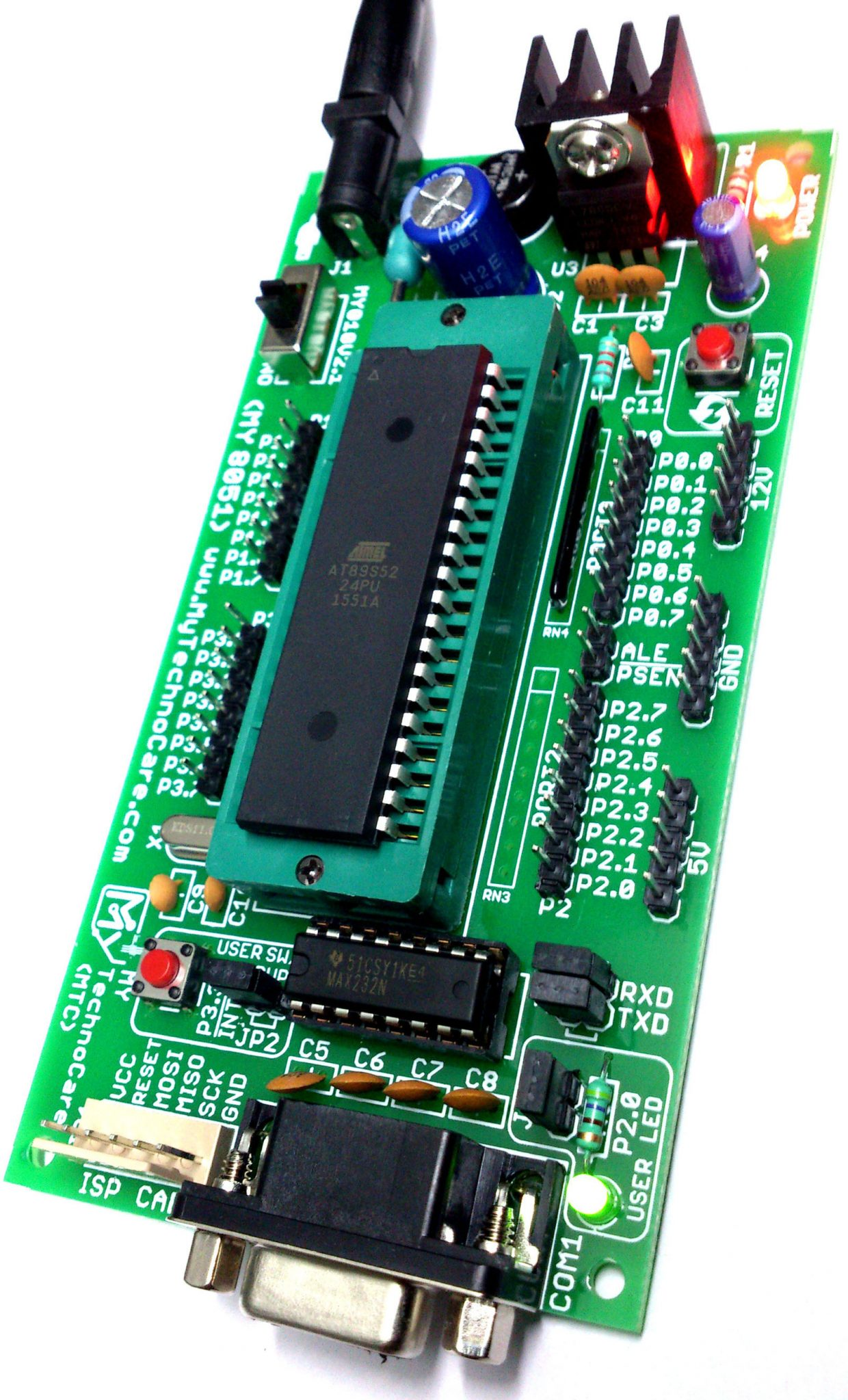 8051 Microcontroller Board With Zif Socket Kit My Technocare Digital Clock Using Rtc Ds1307 My8051 Small Development Max232 Atmel At89s52ic Project Board8051